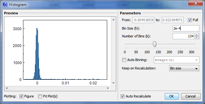 Histogram creation dialog
