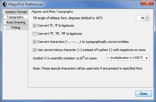 Typography tab in MagicPlot Preferences window