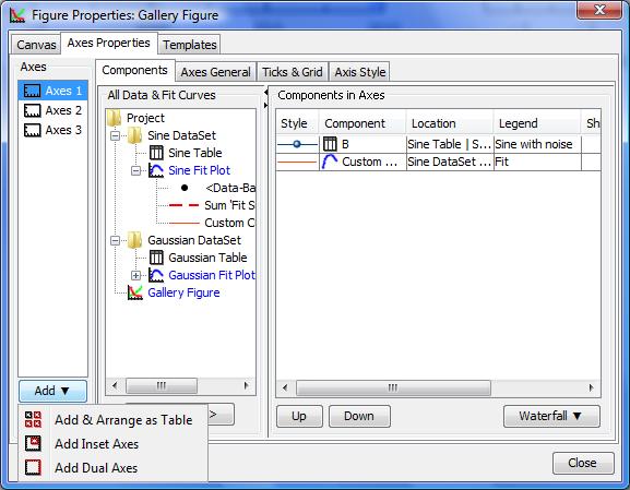 Add Axes menu in Figure properties window