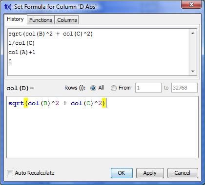 Set column formula dialog