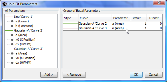 Joining Fit Parameters