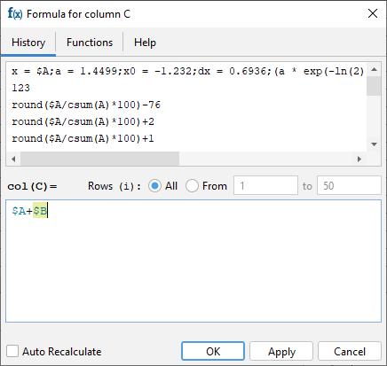 New column formula syntax: $A