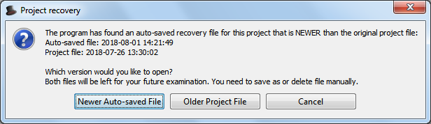 Project recovery prompt